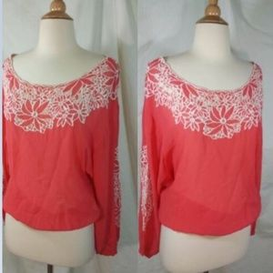 Leifnotes Valotta Peasant Blouse 2 Coral Lace